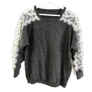 J.Crew grey sweater with edged lace
